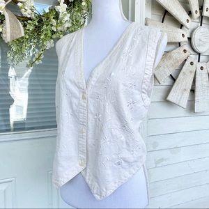 Vintage White Floral Embroidered Linen Vest